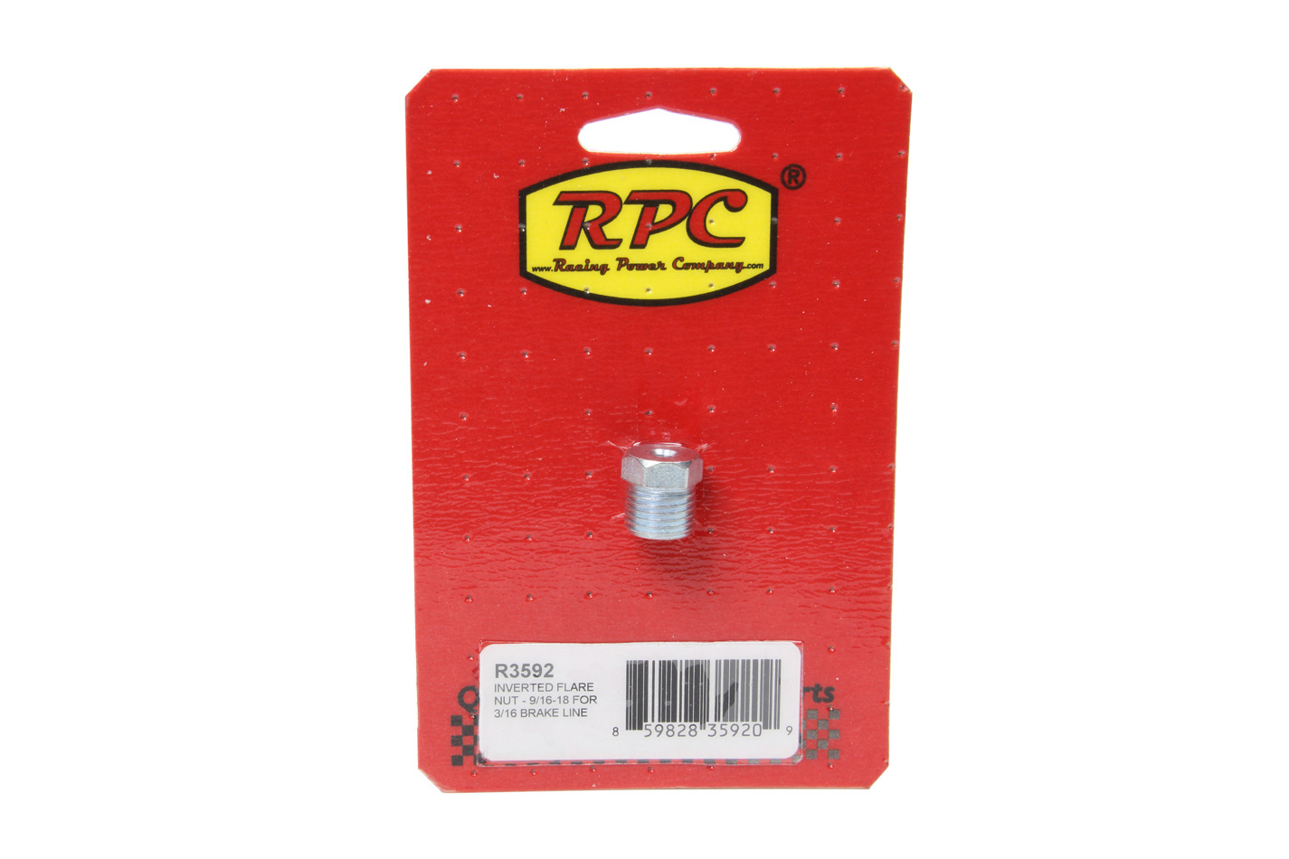 Racing Power Company R3592 Fitting, Flare Nut, 9/16-18 in Inverted Flare Male, Steel, Zinc Oxide, 3/16 in Hardline, Each