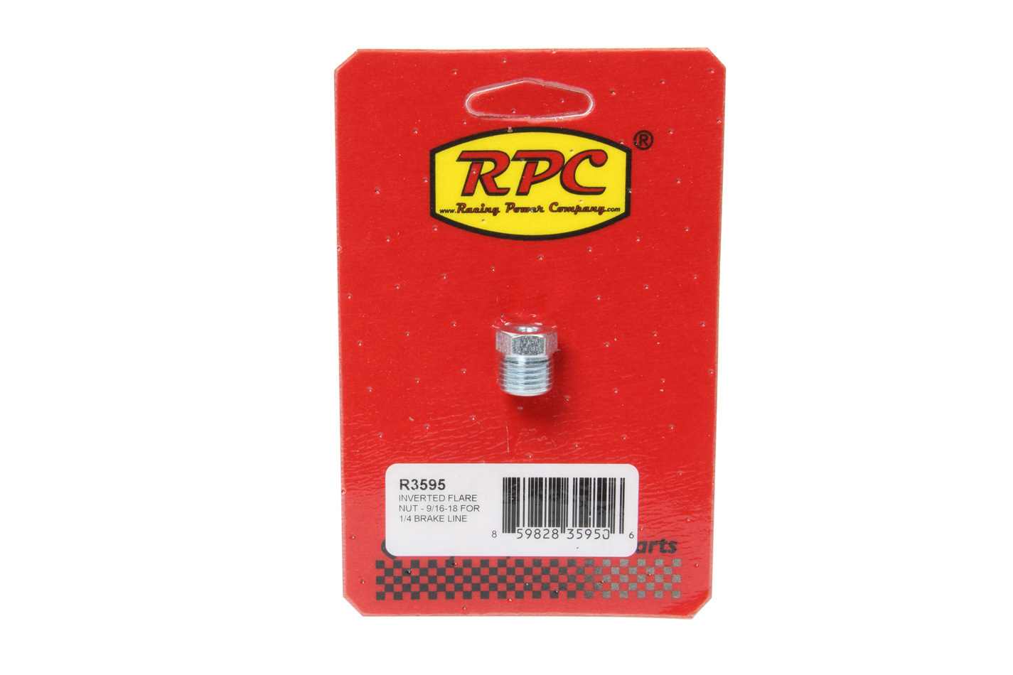 Racing Power Company R3595 Fitting, Flare Nut, 9/16-18 in Inverted Flare Male, Steel, Zinc Oxide, 1/4 in Hardline, Each
