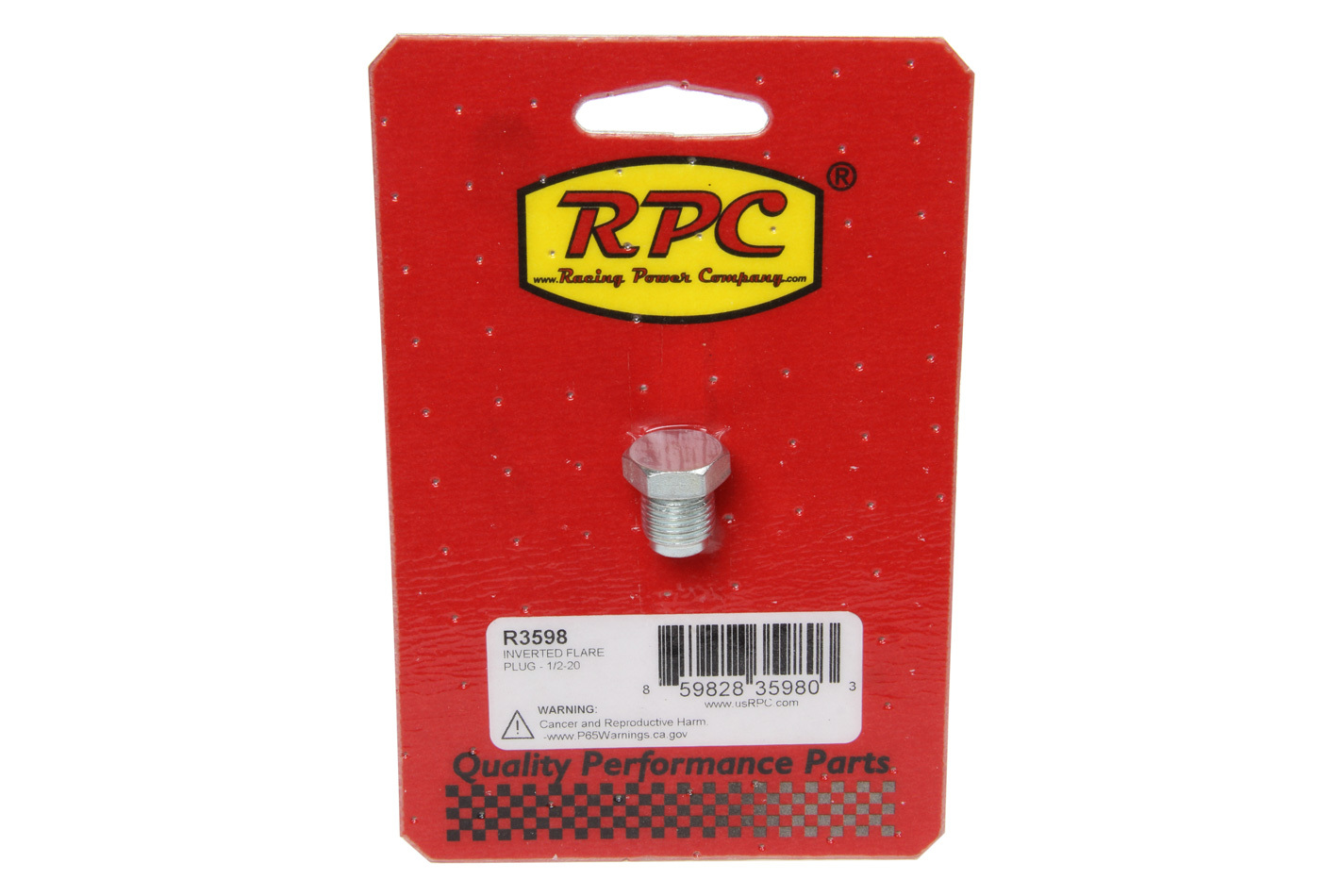 Racing Power Company R3598 Fitting, Plug, 1/2-20 in Inverted Flare Male, Hex Head, Steel, Zinc Oxide, Each