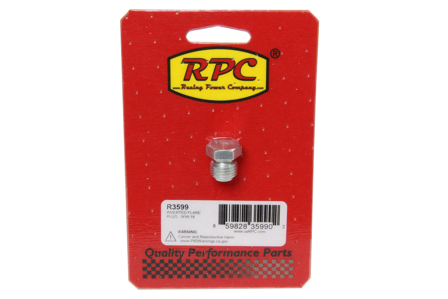 Racing Power Company R3599 Fitting, Plug, 9/16-18 in Inverted Flare Male, Hex Head, Steel, Zinc Oxide, Each