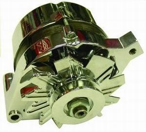 Racing Power Company R3903 Alternator, 100 amp, 12V, 1-Wire, Single V-Belt Pulley, Chrome, GM 1965-89, Each