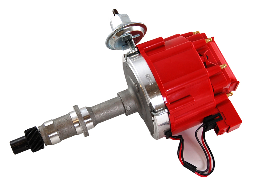 Racing Power Company R3922 Distributor, Ready-To-Run, Magnetic Pickup, Vacuum Advance, HEI Style Terminal, Red, Pontiac V8, Each