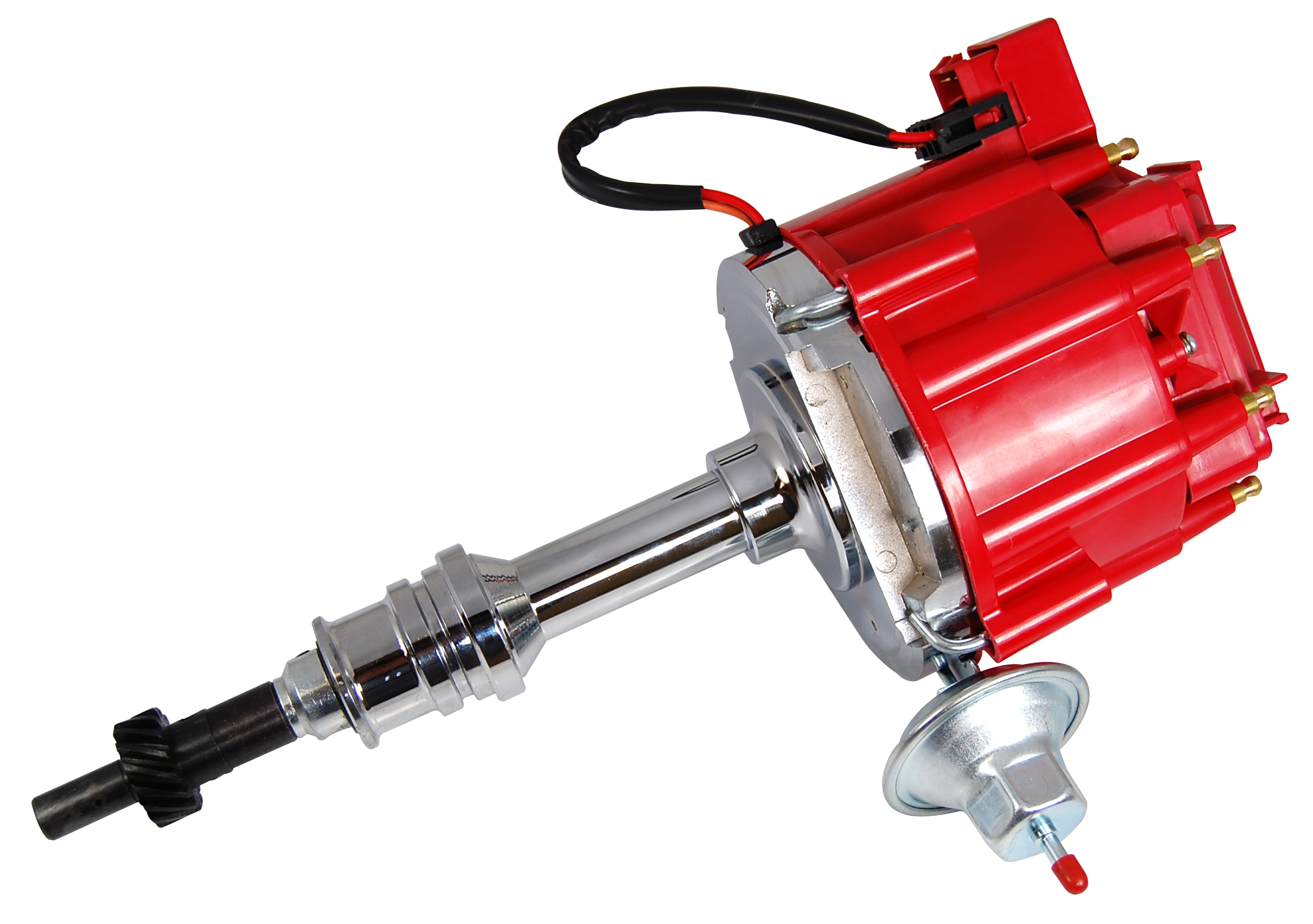 Racing Power Company R3923 Distributor, Ready-To-Run, Magnetic Pickup, Vacuum Advance, HEI Style Terminal, Red, Small Block Ford, Each