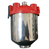 Racing Power Company R4295 Fuel Filter, Hi-Flow, Canister, 10 Micron, Paper Element, 3/8 in NPT Inlet, Dual 3/8 in NPT Outlets, Steel, Chrome / Red Paint, Each