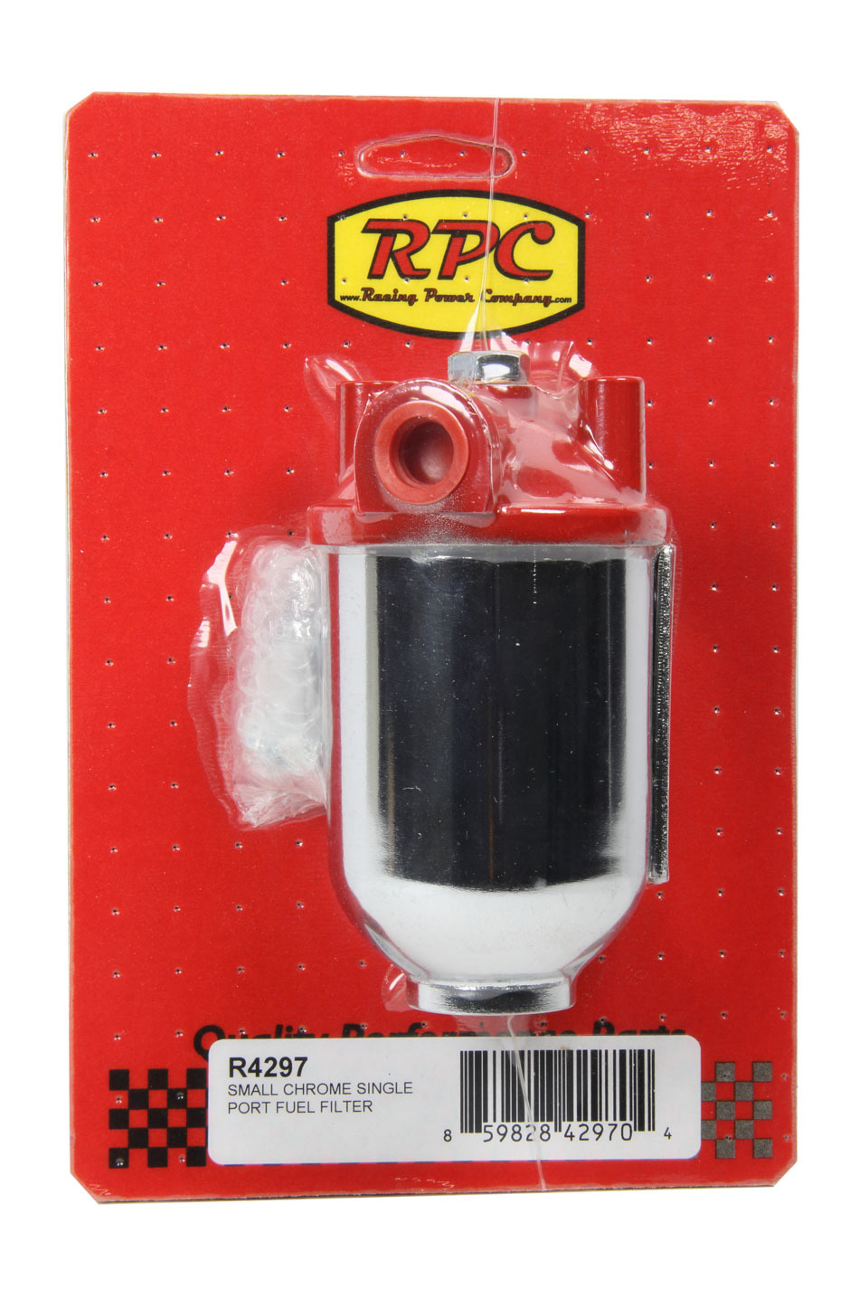 Racing Power Company R4297 Fuel Filter, Canister, 10 Micron, Paper Element, 3/8 in NPT Inlet, 3/8 in NPT Outlet, Steel, Chrome Plated / Red, Each