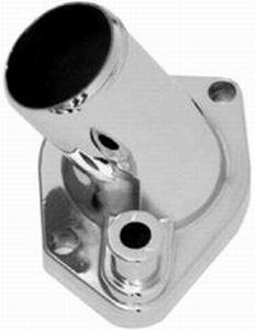 Racing Power Company R4790 Water Neck, 15 Degree, 1-1/2 in ID Hose, Gasket / Hardware Included, Steel, Chrome, Small Block Ford, Each