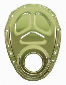 Racing Power Company R4932 Timing Cover, 1 Piece, Gaskets / Hardware / Seal Included, Steel, Chrome, Small Block Chevy, Each