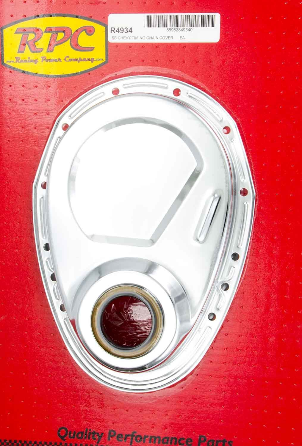 Racing Power Company R4934 Timing Cover, 1 Piece, Gaskets / Hardware / Seal Included, Steel, Chrome, Small Block Chevy, Each