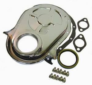 Racing Power Company R4935 Timing Cover, 1 Piece, Gaskets / Hardware / Seal Included, Steel, Chrome, Big Block Chevy, Each