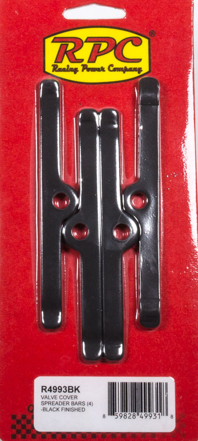 Racing Power Company R4993BK Valve Cover Hold Down Tabs, 4-3/4 in Wide, Steel, Black Powder Coat, Small Block Chevy, Set of 4
