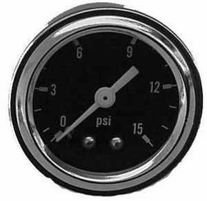 Racing Power Company R5715 Fuel Pressure Gauge, 0-15 psi, Mechanical, Analog, Full Sweep, 1-1/2 in Diameter, Black Face, Each