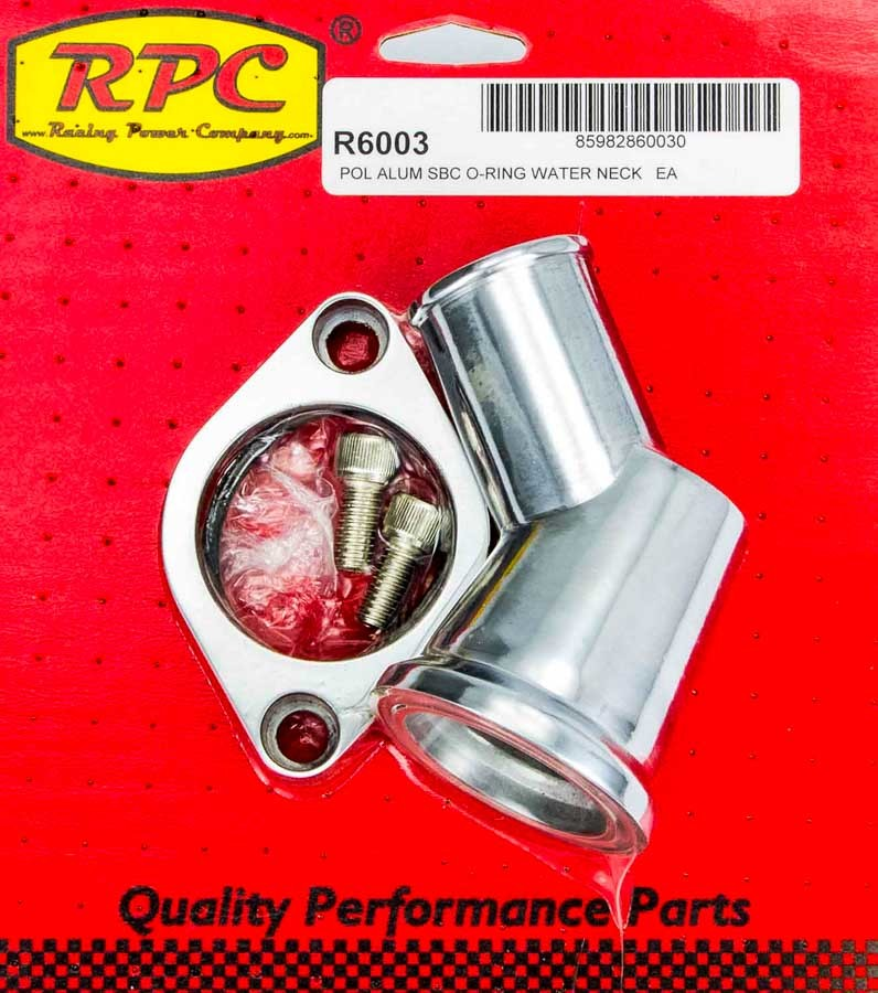 Racing Power Company R6003 Water Neck, 45 Degree, 1-1/2 in ID Hose, Swivel, O-Ring, Aluminum, Polished, Chevy V8, Each