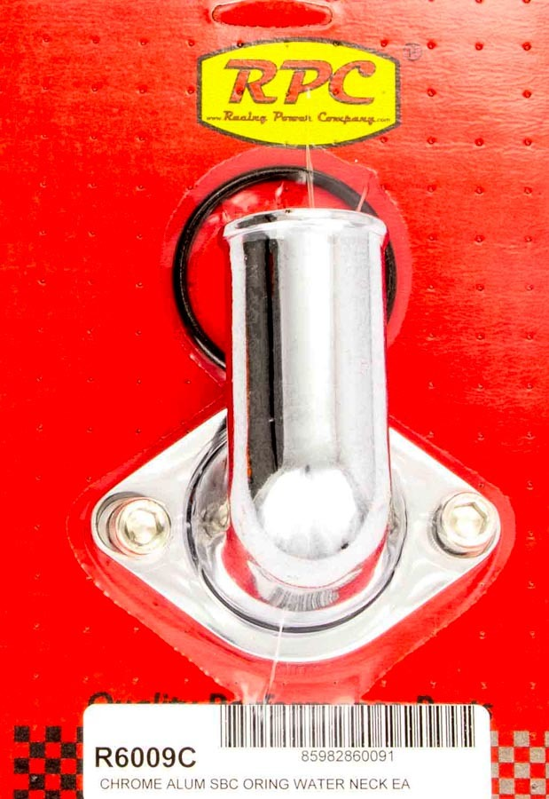 Racing Power Company R6009C Water Neck, 90 Degree, 1-1/2 in ID Hose, Swivel, O-Ring, Aluminum, Chrome, Chevy V8, Each