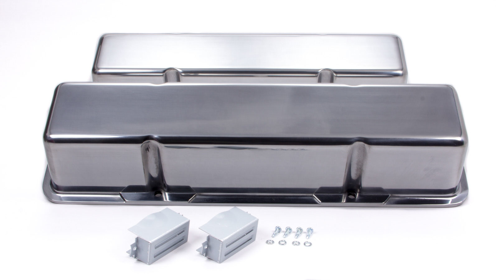 Racing Power Company R6030-1 Valve Cover, Tall, 3-11/16 in Height, Baffled, Grommets Included, Aluminum, Polished, Small Block Chevy, Pair