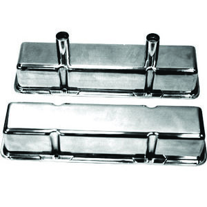 Racing Power Company R6140 Valve Cover, Tall, 3-5/8 in Height, Baffled, Breather Tubes, Aluminum, Polished, Circle Track, Small Block Chevy, Pair