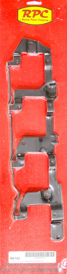 Racing Power Company R6143 Ignition Coil Bracket, Coil Pack Style, Steel, Black Paint, Over Valve Cover, LS1 / LS6, GM LS-Series, Pair