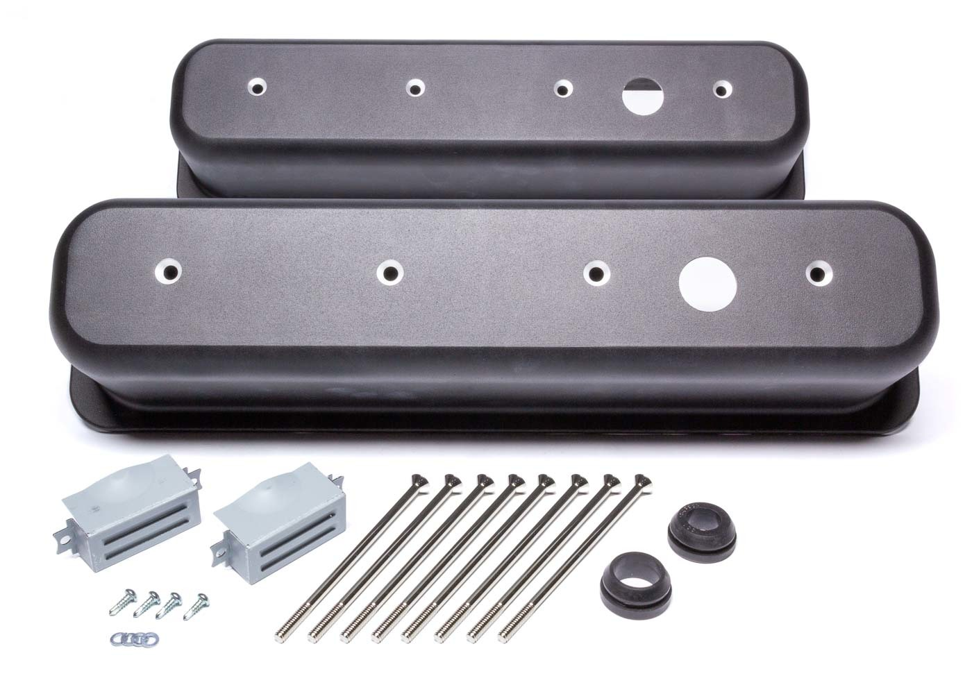 Racing Power Company R6146-1BK Valve Cover, Tall, 3-11/16 in Height, Breather Holes, Hardware Included, Aluminum, Black Paint, Center Bolt, Small Block Chevy, Pair