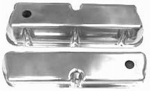 Racing Power Company R6171 Valve Cover, Tall, Baffled, Breather Hole, Aluminum, Polished, Small Block Ford, Pair