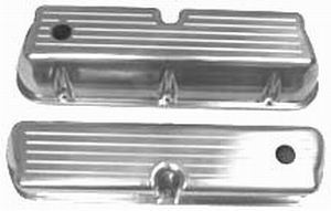 Racing Power Company R6172 Valve Cover, Tall, Baffled, Breather Hole, Aluminum, Polished, Small Block Ford, Pair