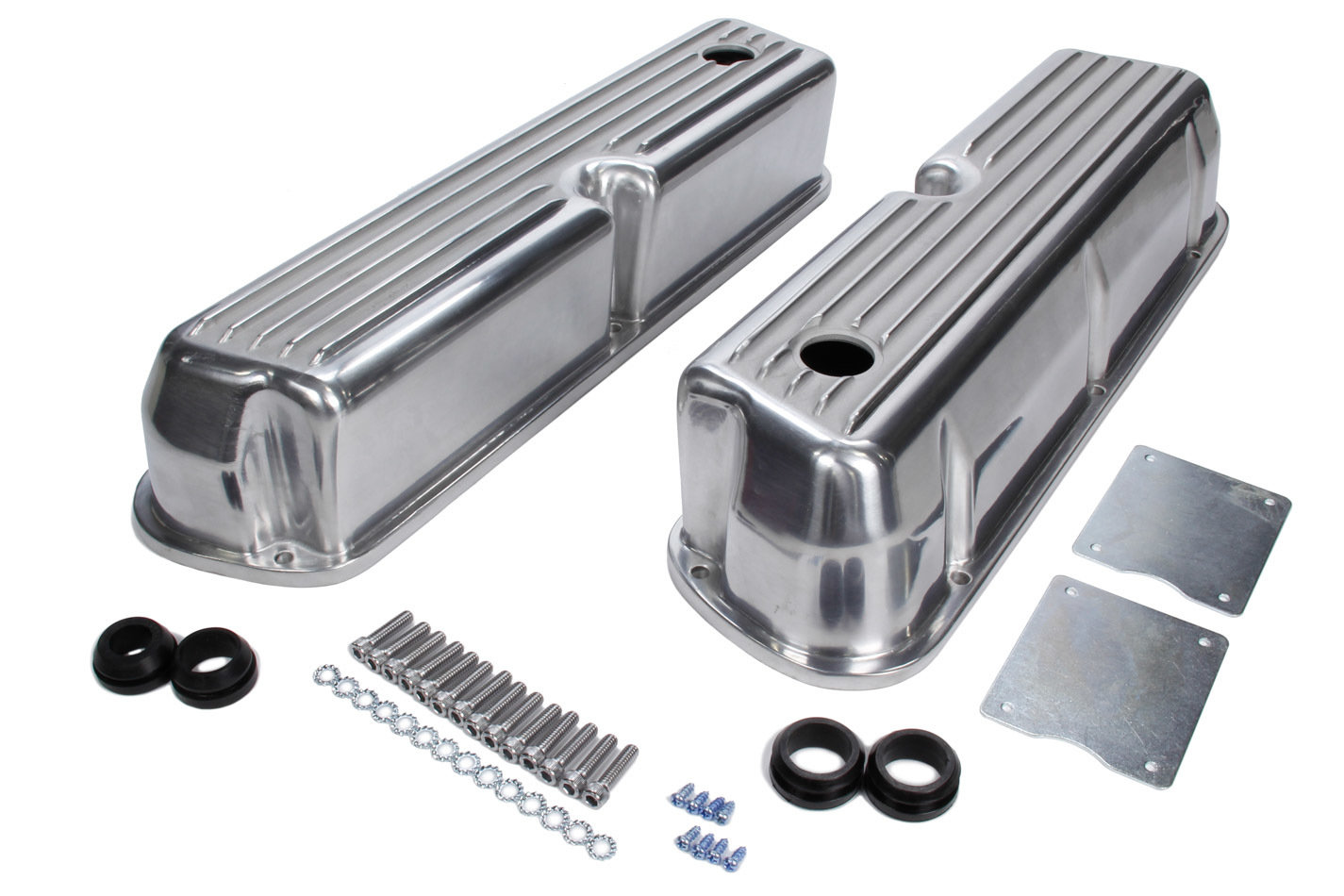 Racing Power Company R6175 Valve Cover, Tall, 3-7/16 in Height, Baffled, Breather Holes, Hardware Included, Top Finned, Aluminum, Polished, Small Block Ford, Pair