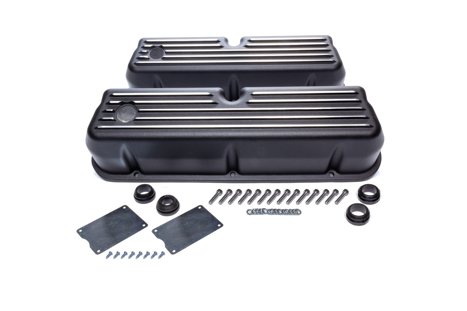Racing Power Company R6175BK Valve Cover, Tall, 3-7/16 in Height, Baffled, Breather Holes, Hardware Included, Top Finned, Aluminum, Black Paint, Small Block Ford, Pair