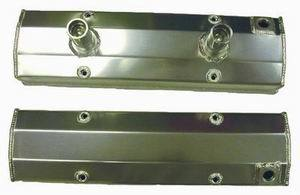 Racing Power Company R6240 Valve Cover, Tall, 3-5/8 in Height, Breather Tubes, Aluminum, Satin, Circle Track, Small Block Chevy, Pair
