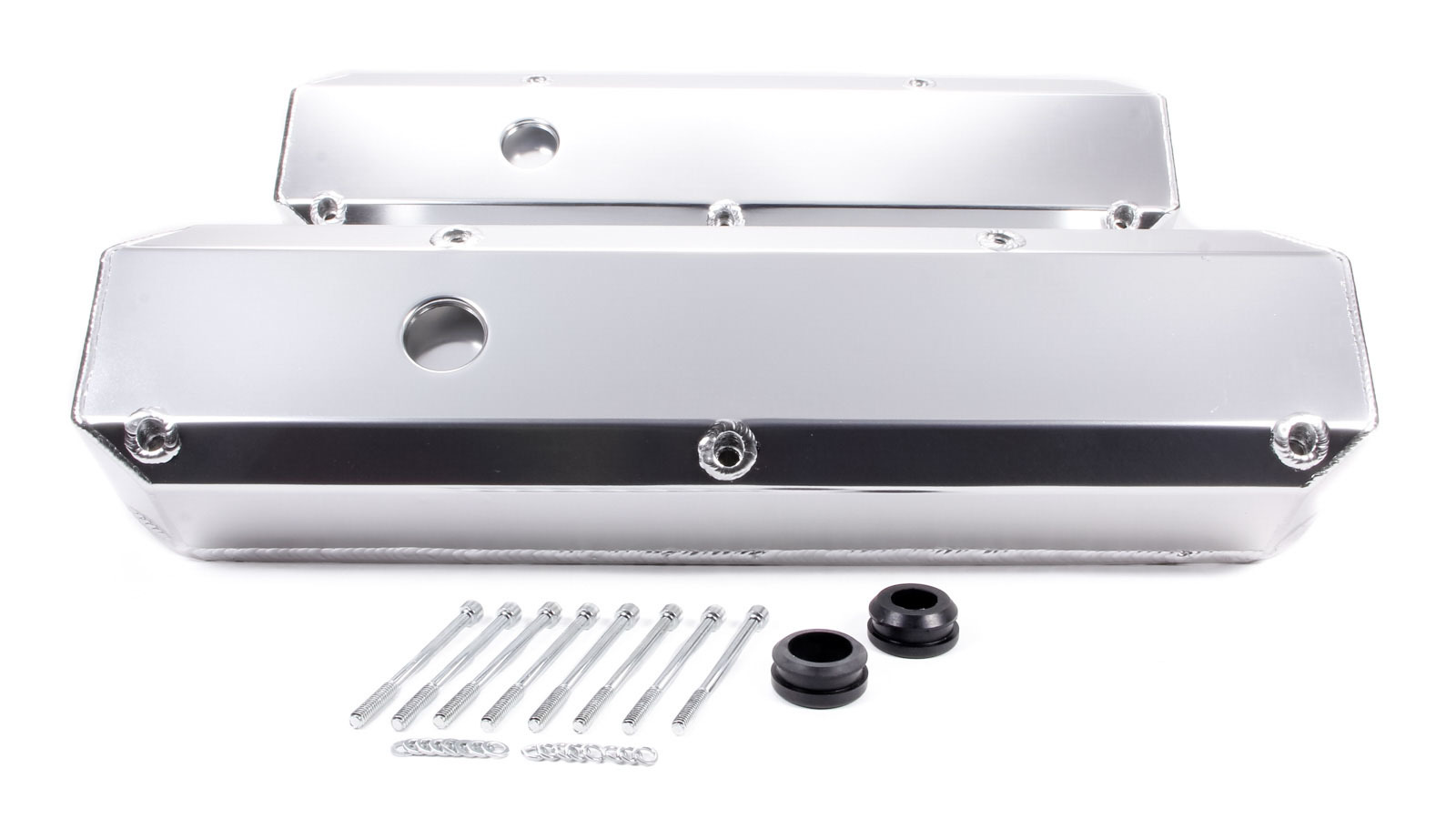 Racing Power Company R6246 Valve Cover, Tall, 3-7/16 in Height, Breather Holes, Hardware Included, Fabricated Aluminum, Clear Anodized, Recessed Bolts, Small Block Mopar, Pair