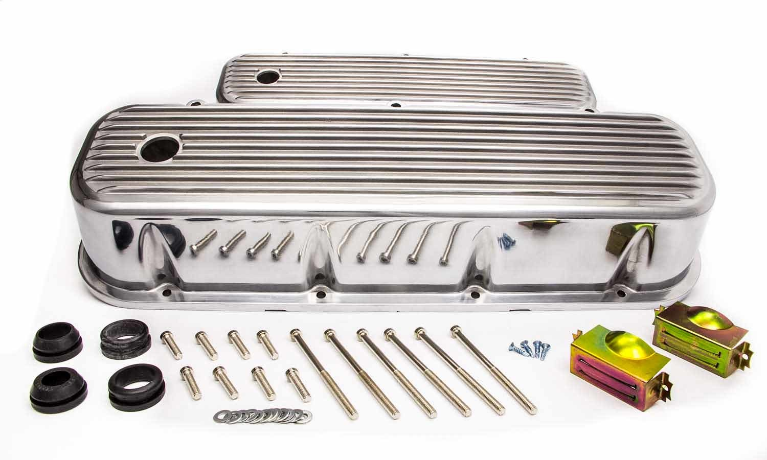 Racing Power Company R6280 Valve Cover, Tall, 4 in Height, Baffled, Breather Holes, Top Finned, Aluminum, Polished, Big Block Chevy, Pair