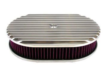 Racing Power Company R6314 Air Cleaner Assembly, 12 in Oval, 2 in Tall, 5-1/8 in Carb Flange, Raised Base, Finned, Aluminum, Polished, Kit