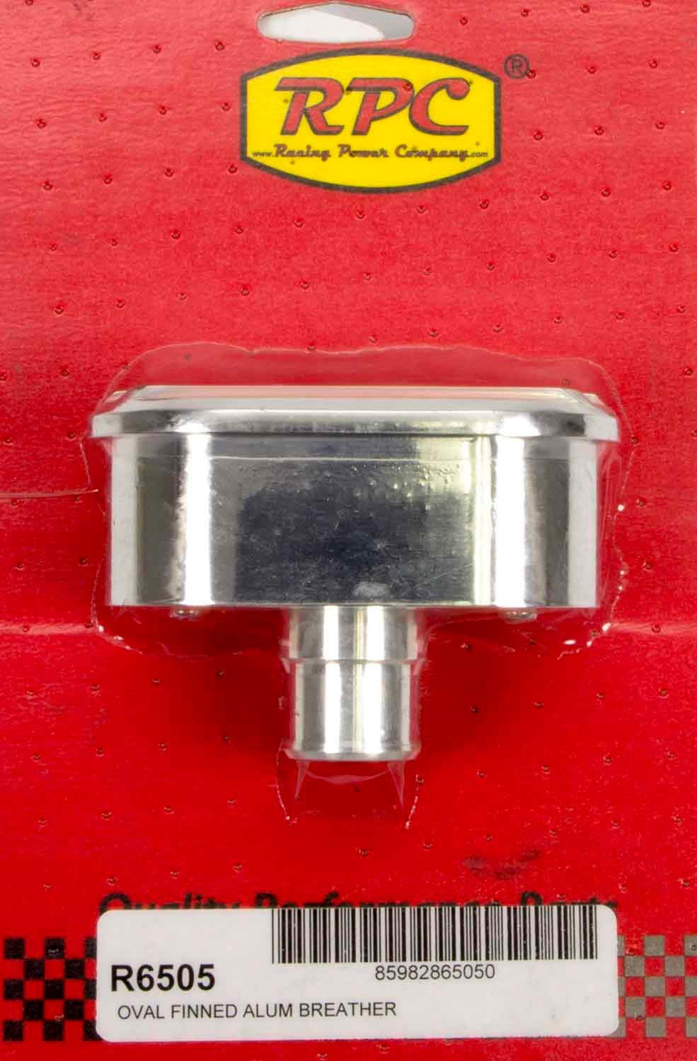 Racing Power Company R6505 Breather, Nostalgic, Push-In, Oval, 1-1/4 in Hole, Aluminum, Polished, Finned, Each