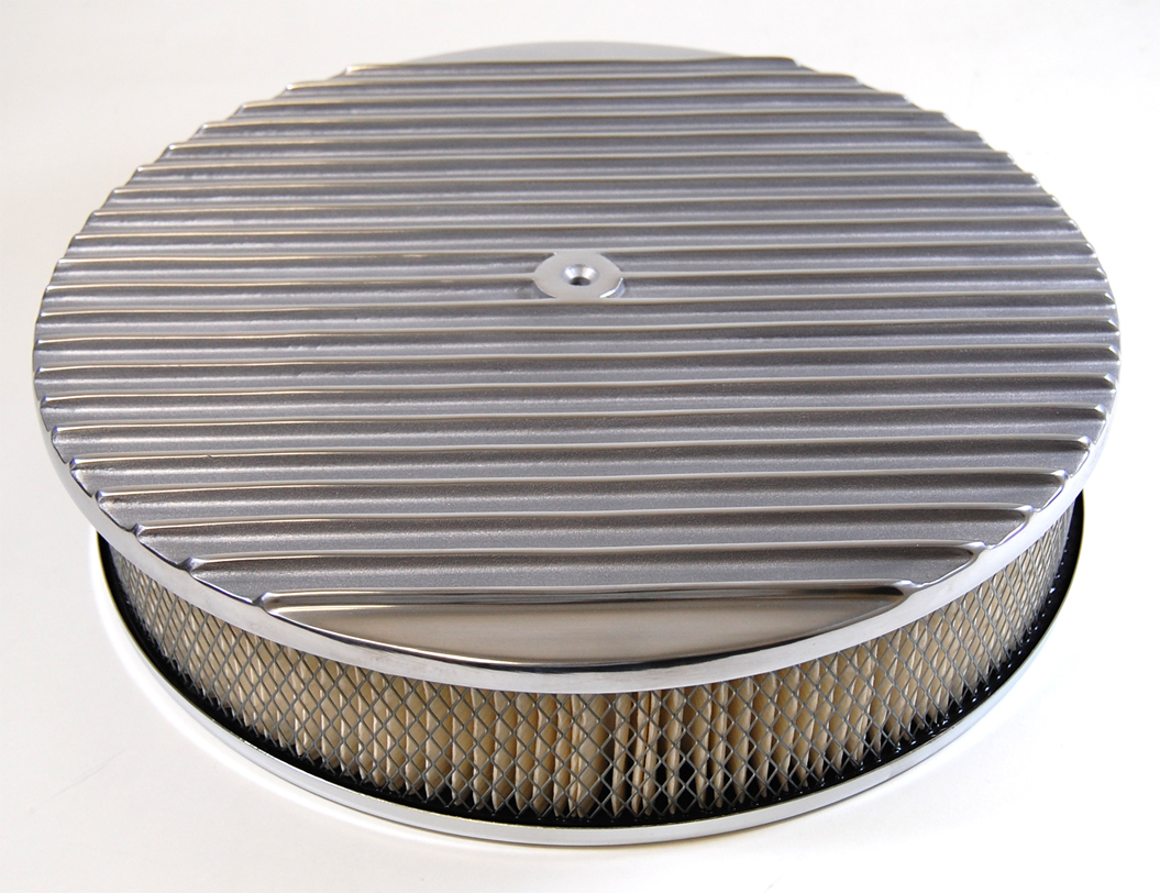 Racing Power Company R6708 Air Cleaner Assembly, 14 in Round, 3 in Tall, 5-1/8 in Carb Flange, Raised Base, Finned, Steel, Chrome, Kit