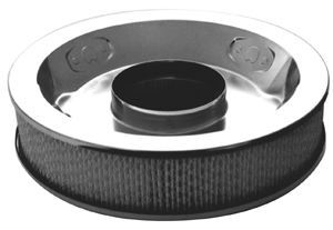 Racing Power Company R7195 Air Cleaner Assembly, 14 in Round, 3 in Tall, 5-1/8 in Carb Flange, Raised Base, Steel, Chrome, Kit