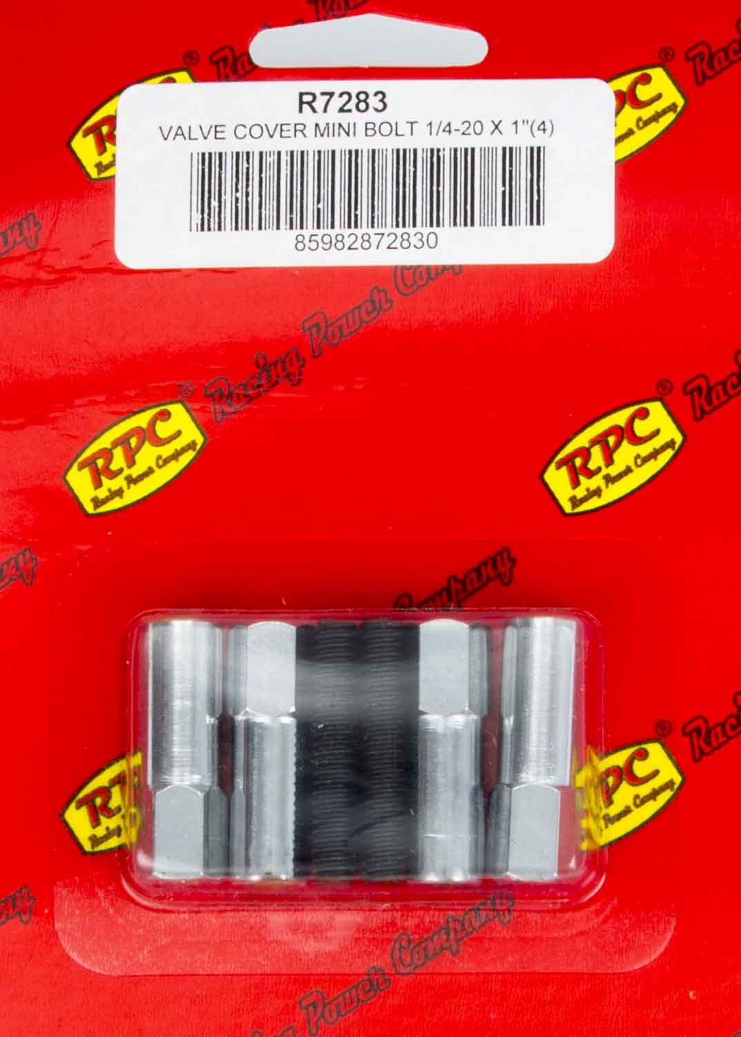 Racing Power Company R7283 Valve Cover Fastener, Stud, 1/4-20 in Thread, 1.375 in Long, Mini Bolt, 1-1/4 in Long, Steel, Chrome, Set of 4