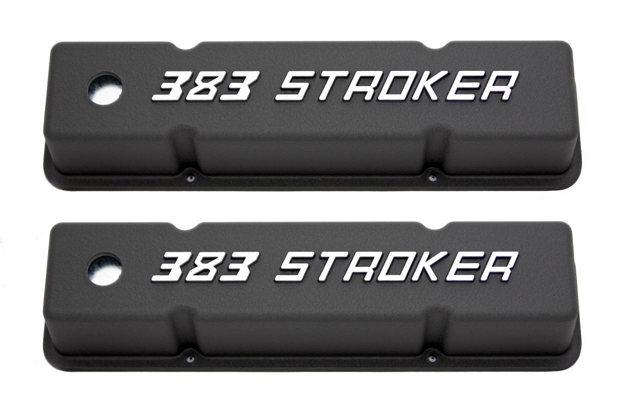 Racing Power Company R7617 Valve Cover, Tall, 3-7/8 in Height, Breather Holes, Aluminum, 383 Stroker, Black Powder Coat, Small Block Chevy, Pair