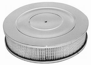Racing Power Company R8025 Air Cleaner Assembly, 14 in Round, 3 in Tall, 5-1/8 in Carb Flange, Drop Base, Steel, Chrome, Kit