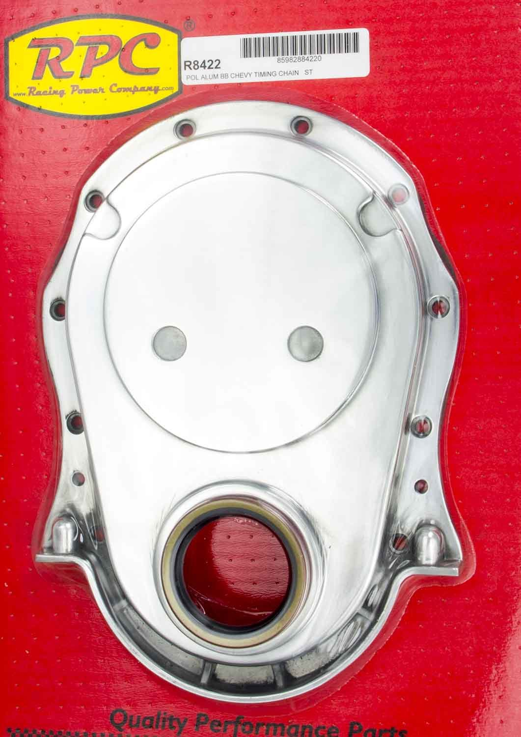 Racing Power Company R8422 Timing Cover, 1 Piece, Gaskets / Hardware / Seal Included, Aluminum, Polished, Big Block Chevy, Each