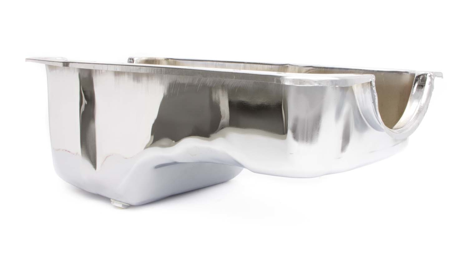 Racing Power Company R9078 Engine Oil Pan, Front Sump, Stock Depth, Steel, Chrome, Small Block Ford, Each
