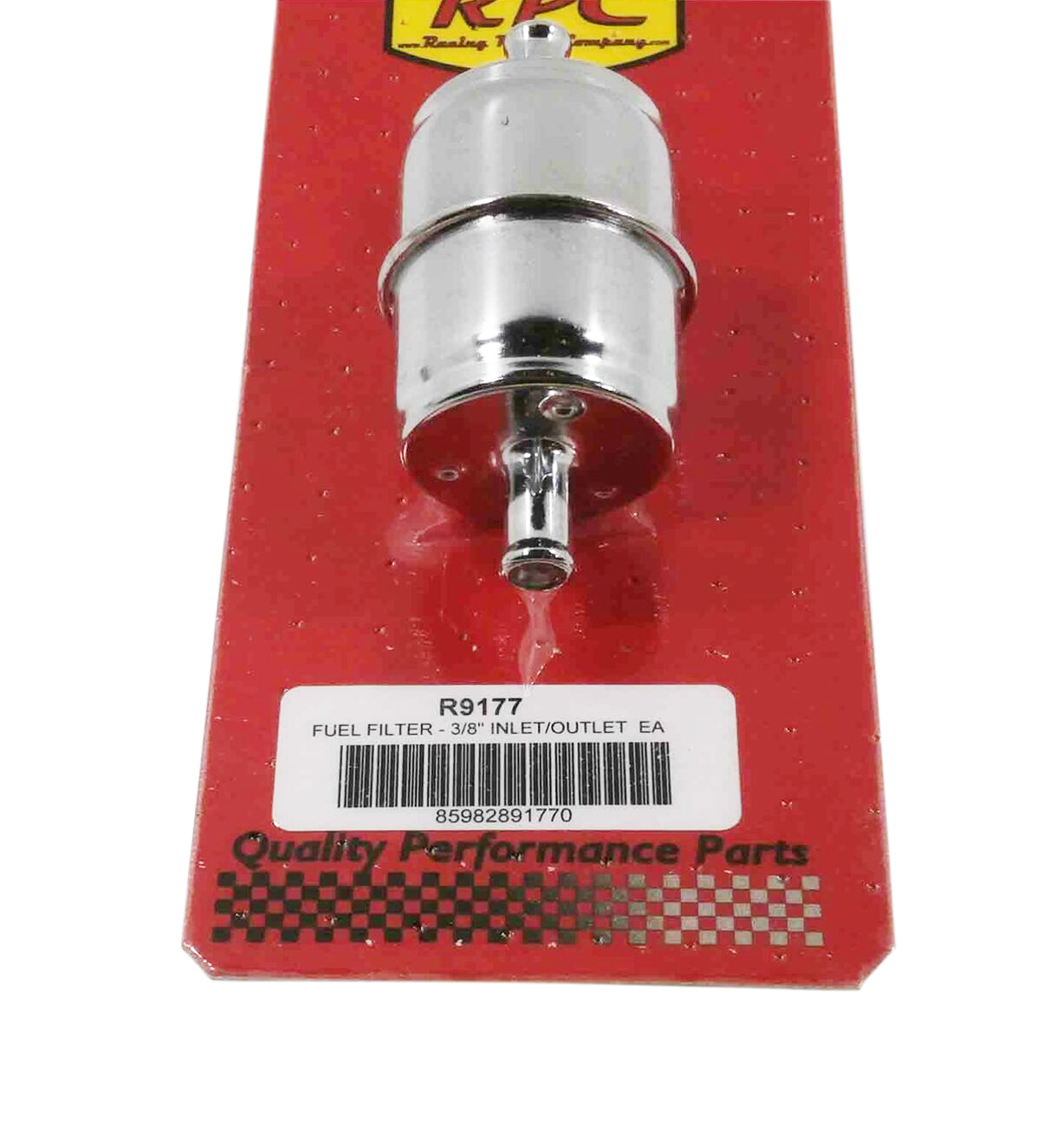 Racing Power Company R9177 Fuel Filter, In-Line, 10 Micron, Disposable, Paper Element, 3/8 in Hose Barb Inlet / Outlet, Steel, Chrome, Each