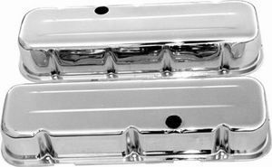 Racing Power Company R9235 Valve Cover, Tall, 3-5/8 in Height, Baffled, Breather Holes, Grommets Included, Steel, Chrome, Big Block Chevy, Pair