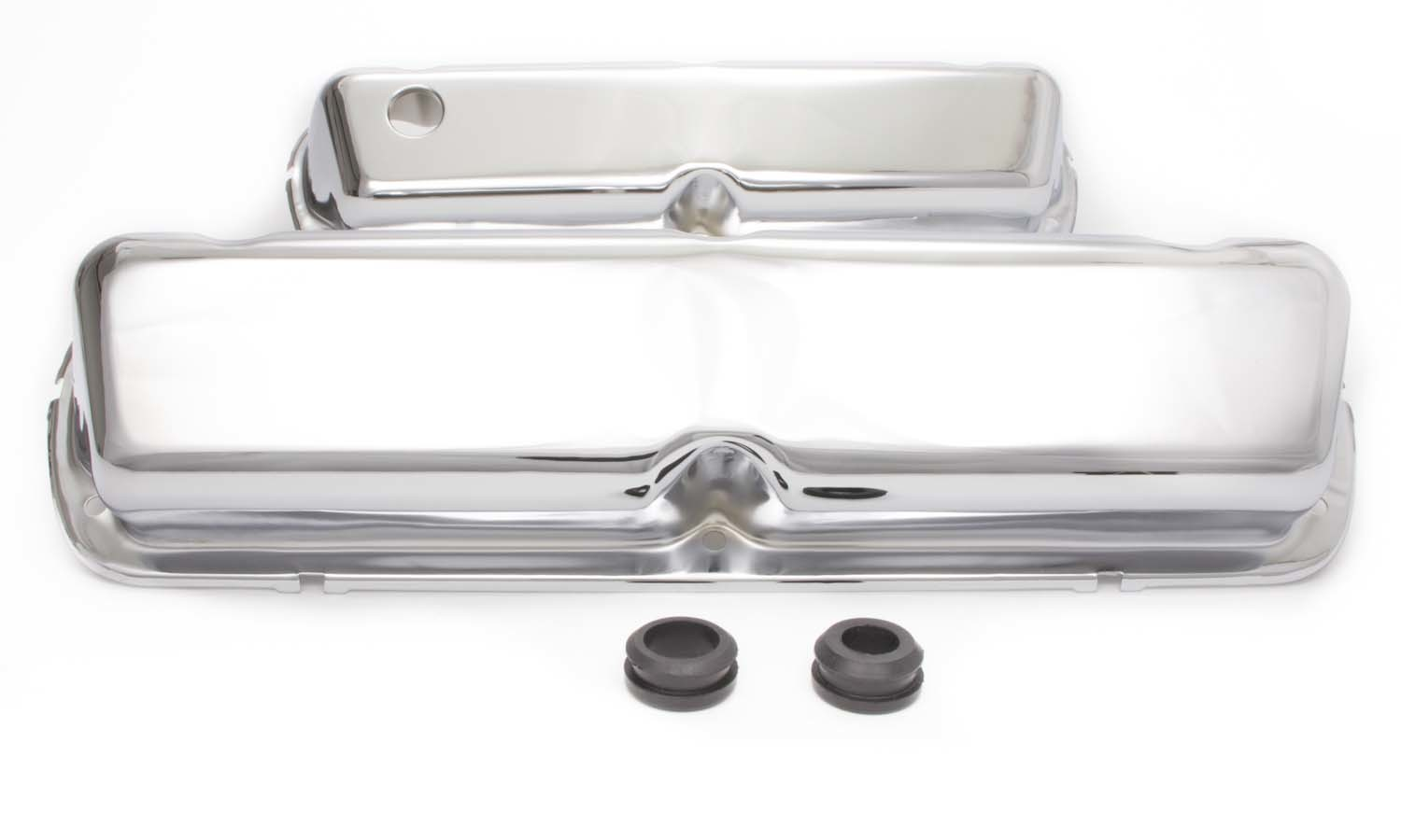 Racing Power Company R9239 Valve Cover, Tall, 3-11/16 in Height, Breather Hole, Grommets Included, Steel, Chrome, Small Block Ford, Pair