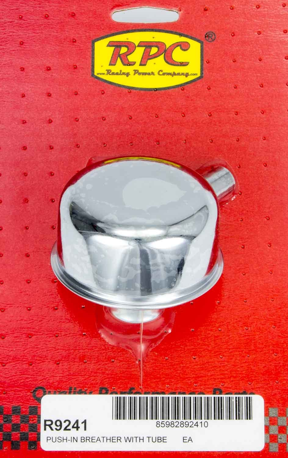 Racing Power Company R9241 Breather, Push-In, Round, 1-1/4 in Hole, 3/8 in Hose Evacuation Fitting, Steel, Chrome, Each
