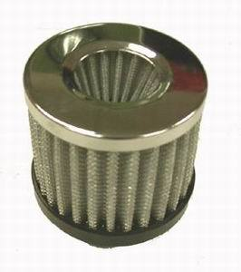 Racing Power Company R9301 Breather, Push-In, Round, 1-1/2 in Hole, Rubber / Steel, Black / Chrome, Each