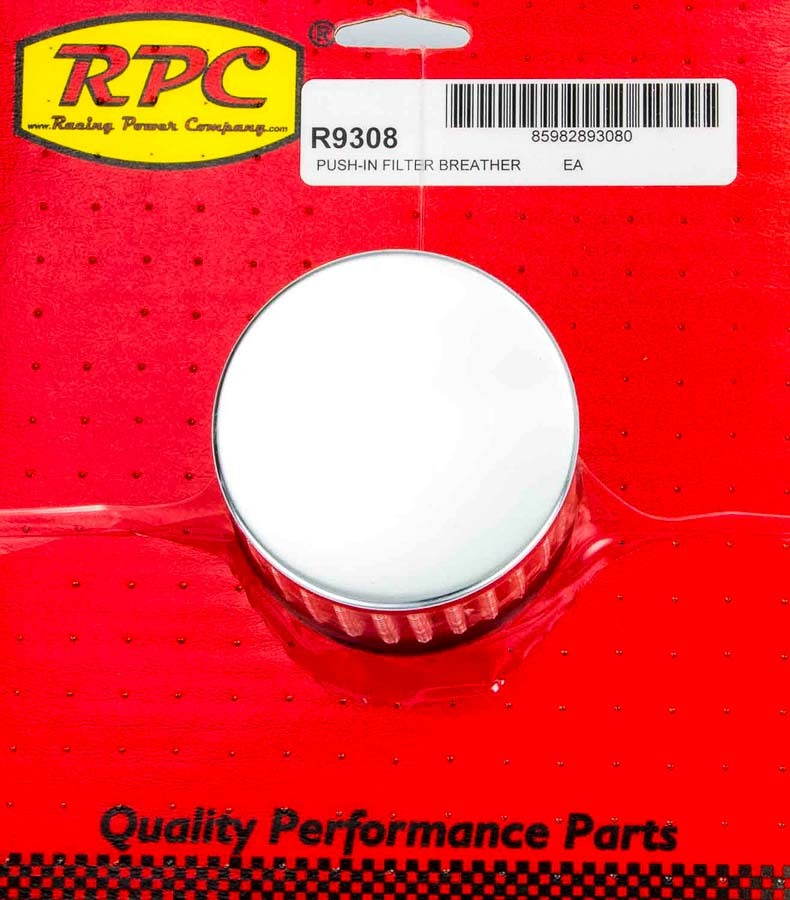 Racing Power Company R9308 Breather, Push-In, Round, 1-1/4 in Hole, Reusable, Steel, Chrome, Each