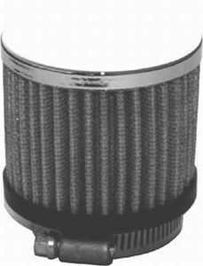 Racing Power Company R9309X Breather, Clamp-On, Round, 1-3/8 in OD Tube, Reusable, Rubber / Steel, Black / Chrome, Each