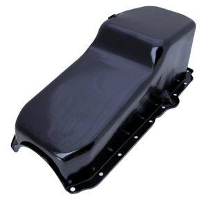 Racing Power Company R9414P Engine Oil Pan, Rear Sump, 4 qt, 8 in Deep, Steel, Black, Small Block Chevy, Each
