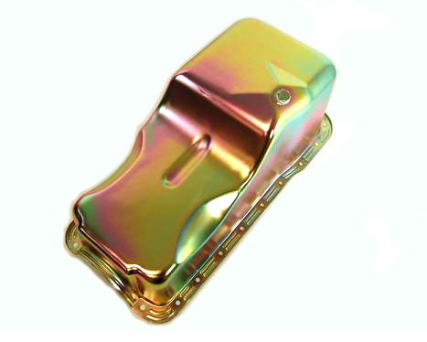 Racing Power Company R9532Z Engine Oil Pan, Front Sump, Stock Depth, Steel, Zinc, Small Block Ford, Each
