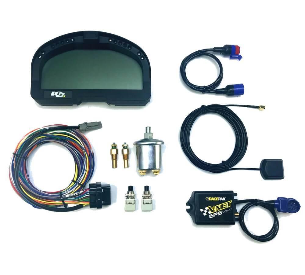 Racepak 250-KT-SWIQ3S Digital Dash, Smartwire, V-Net System, GPS Module / Programming Cable Included, Black, Racepak Digital Dashes, Kit