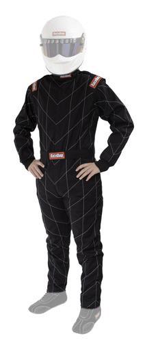 Racequip 130903 Suit, Driving, Chevron-1, SFI 3.2A/1, Single Layer, Fire Retardant Cotton, Black, Medium, Each