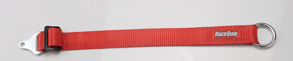 Racequip 897147 Axle Strap, 2 in Wide, Adjustable 7-24 in Long, 3500 lb Capacity, Bolt-On/Wrap Around, Hard Metal Ring, Polyester, Red, Each