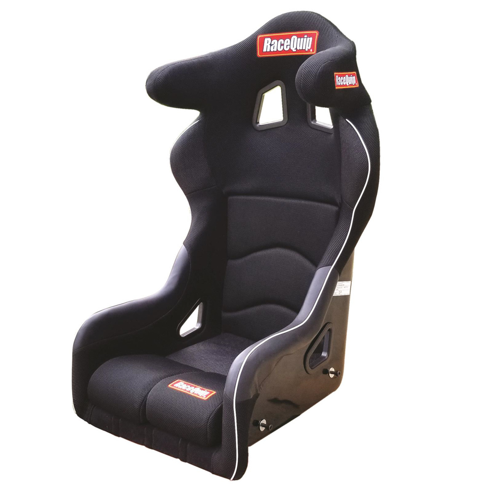 Racequip 96995599 Seat, Non-Reclining, FIA Approved, 16 in Wide, Side Bolsters, Harness Openings, Fiberglass Composite, Fabric, Black, Each